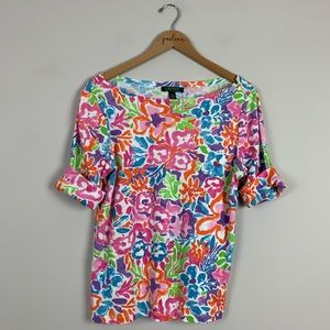 Ralph Lauren Rainbow Floral Cotton Top L